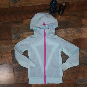 IVIVVA HEATHERED BLUE AND PINK ZIP UP HOODIE